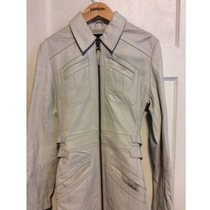 Express Jackets & Coats - Express White Leather Trench Coat